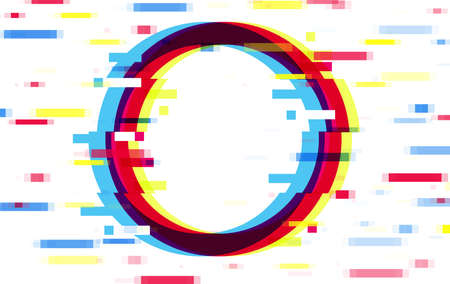 An illuminated circle frame with glitch effect and a place for text Distorted glitch style modern background, glow design for banner, poster, flyer, brochure, card