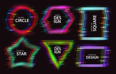 Vector frames with glitch tv distortion effect and a place for text, geometric shapes star, triangle, circle, square, rhombus Фото со стока - 152908314