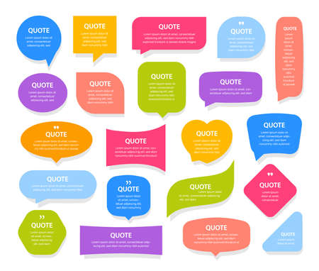 Colorful quote frames textboxes on white background