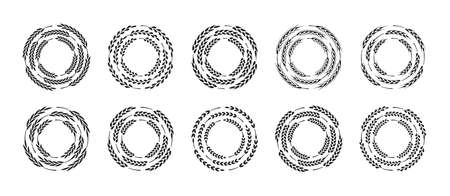Set of circle frames made of wheat ears, isolated on a white background