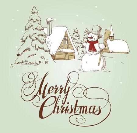christmas menu: Vintage christmas card