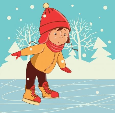 skate: Ice skating boy  Winter on frozen ice lake  Illustration
