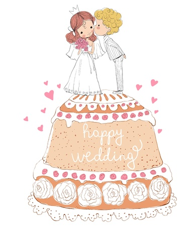 Wedding invitation bride and groom on the cake Vector