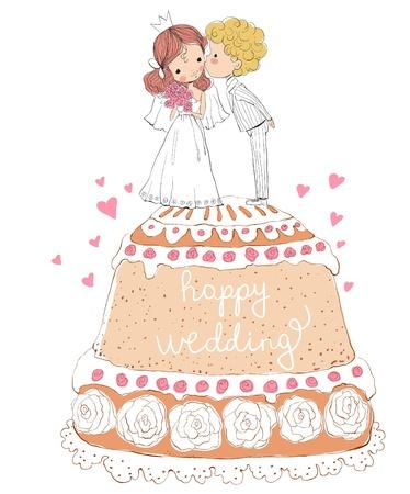 Hochzeitseinladung Braut und Bräutigam auf dem Kuchen