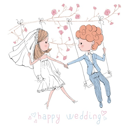 wedding set bride and groom on swing Vector