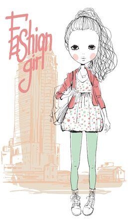 chica en la ciudad Ilustración de vector