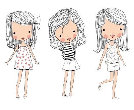 jolie petite fille: mignon bébé enfants Illustration