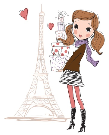 Shopping girl in Paris  Vector