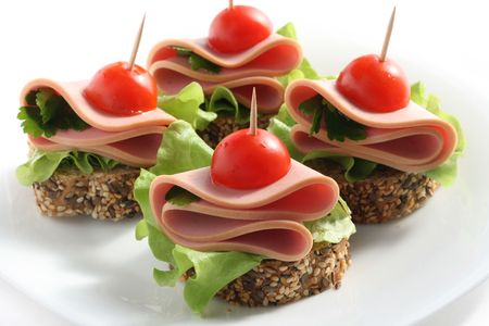 canape with boiled sausage