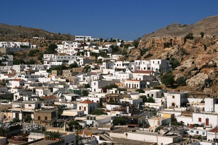 lindos: view on a town Lindos Stock Photo