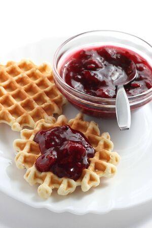 Waffles with fruit jam
