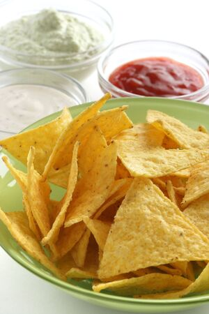 Nachos in green bowl