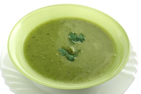 pea soup in a green bowl