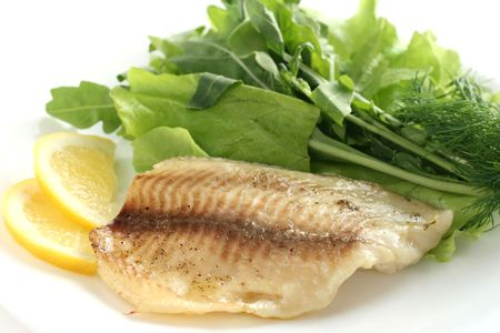 tilapia with lettuce and rucola Stock Photo