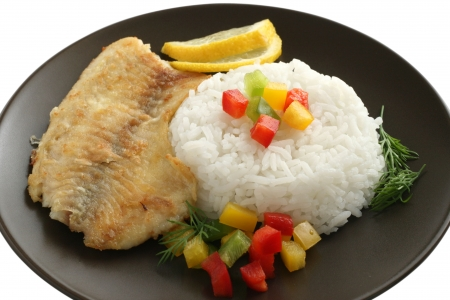 fried tilapia with rice Stock Photo