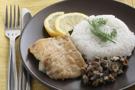 plaice: fried plaice with rice