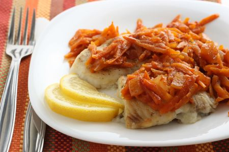plaice: fried plaice with carrot