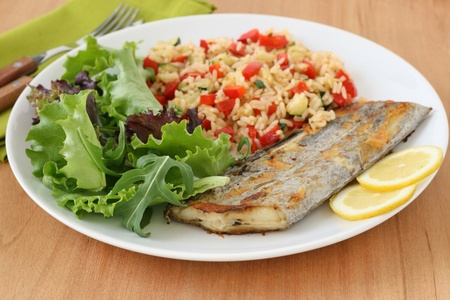 grilled swordfish wit rice with vegetables Stock Photo - 9367967