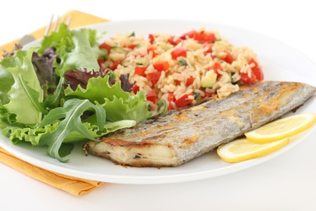 grilled swordfish wit rice with vegetables Stock Photo - 9367958