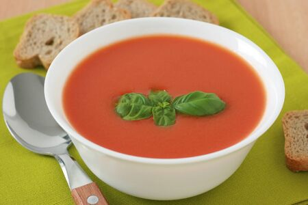 tomato soup with basil photo