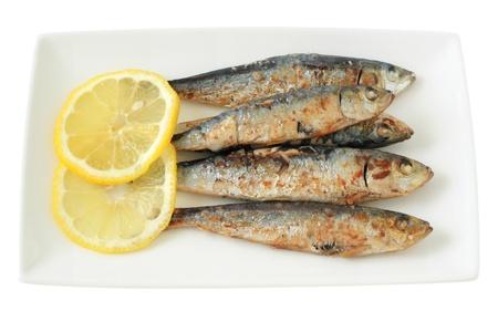 fried sardines with lemon photo
