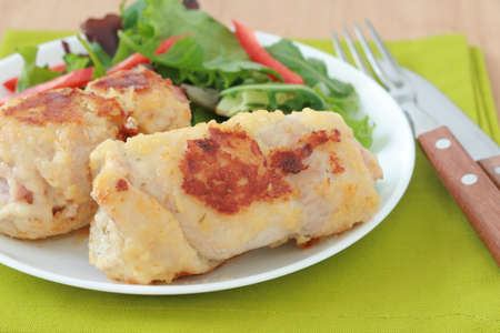 chese: turkey rolls with salad
