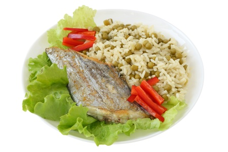 Fried swordfish with boiled rice photo