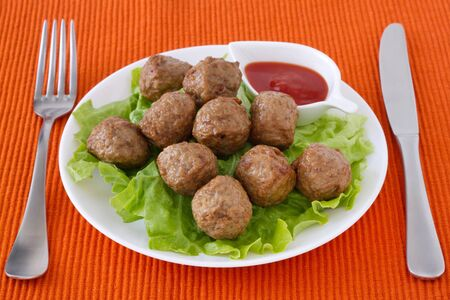 meatballs  on the plate with sauce Stock Photo