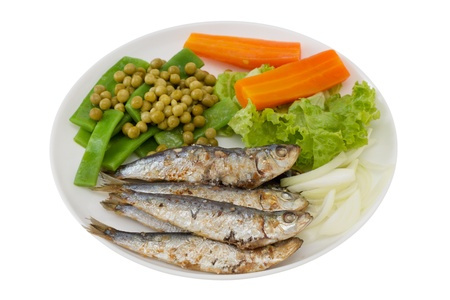 fried sardines with carrot and green beans photo