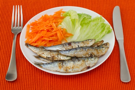 fried sardines with lettuce and carrot on the plate photo