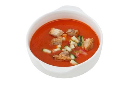 gaspacho: soup gaspacho in the white bowl