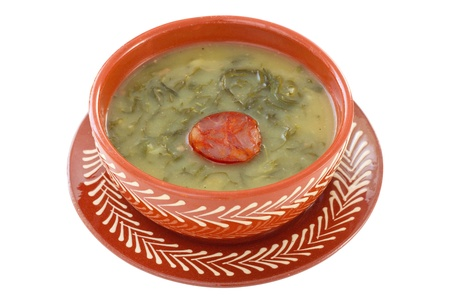 soup with sausage in the bowl