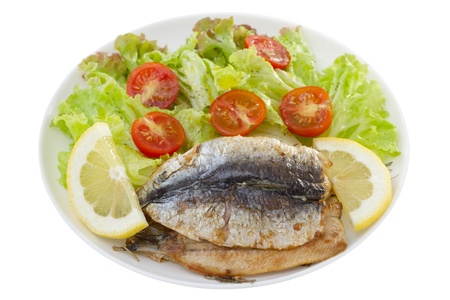 fried fillet of sardines with salad photo