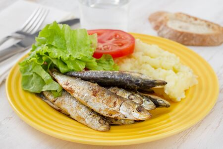 fried sardines on the plate photo