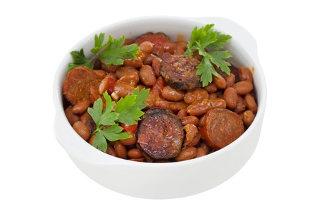 red beans with sausages in bowl Stock Photo - 15537614