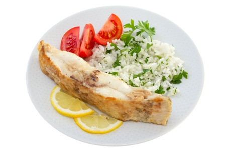 fried plaice with rice and lemon