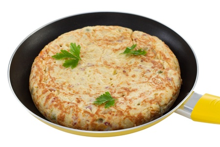 spanish omelet on yellow frying pan Stock Photo - 15712297