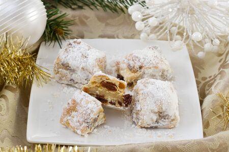 powdered sugar: Christmas cake with powdered sugar Stock Photo