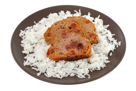 meat with boiled rice on brown plate Stock Photo - 16389883