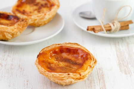 nata: pastel de nata on the white plate