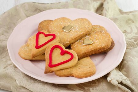 valentine cookies on the plate photo