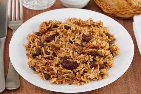 beans with meat and rice in the plate Stock Photo