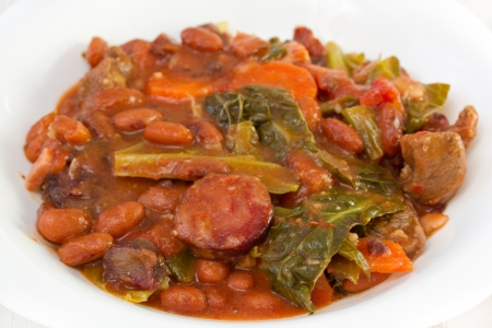 smoked sausages with carrot, beans and cabbage