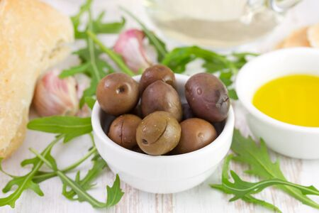 olives with olive oil and bread Stock Photo - 18022251