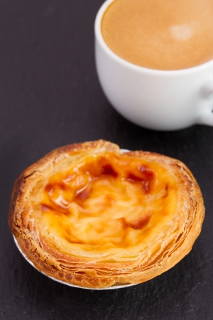 nata: pastel de nata with cup of coffee Stock Photo