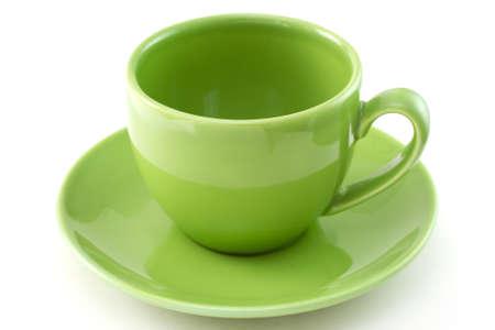 cup of tea: green ceramic cup