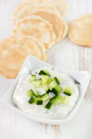 cucumber sauce with toasts photo
