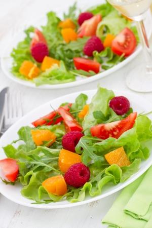 fresh salad with raspberries Stock Photo