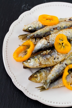 fried sardines with pepper photo