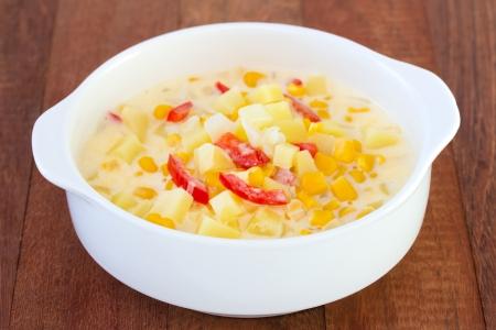 chowder: corn chowder in bowl Stock Photo